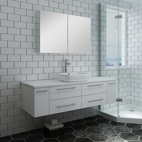 "Fresca Lucera 60"" White Wall Hung Single Vessel Sink Modern Bathroom Vanity w/ Medicine Cabinet"