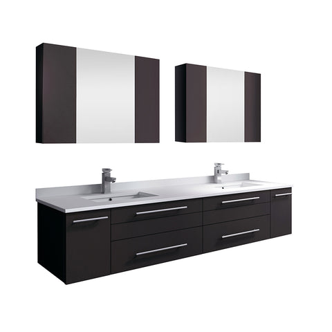 "Image of Fresca Lucera 72"" Espresso Wall Hung Double Undermount Sink Modern Bathroom Vanity w/ Medicine Cabinets"