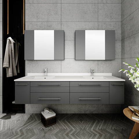 "Fresca Lucera 72"" Gray Wall Hung Double Undermount Sink Modern Bathroom Vanity w/ Medicine Cabinets"
