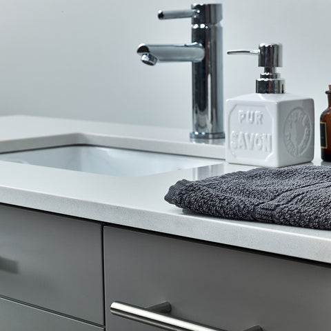 "Image of Fresca Lucera 72"" Gray Wall Hung Double Undermount Sink Modern Bathroom Vanity w/ Medicine Cabinets"