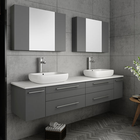 "Fresca Lucera 72"" Gray Wall Hung Double Vessel Sink Modern Bathroom Vanity w/ Medicine Cabinets"