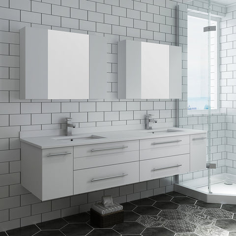 "Image of Fresca Lucera 72"" White Wall Hung Double Undermount Sink Modern Bathroom Vanity w/ Medicine Cabinets"