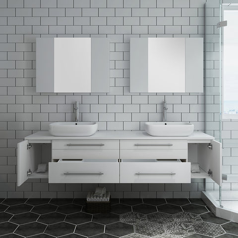 "Image of Fresca Lucera 72"" White Wall Hung Double Vessel Sink Modern Bathroom Vanity w/ Medicine Cabinets"