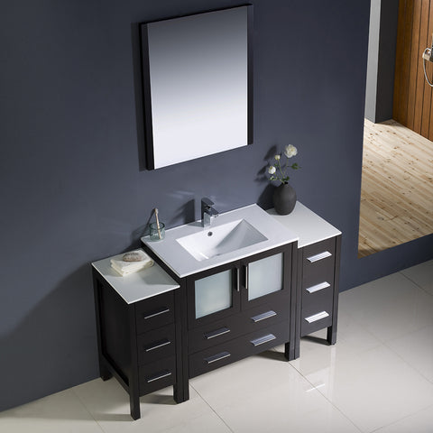 "Image of Fresca Torino 54"" Espresso Modern Bathroom Vanity w/ 2 Side Cabinets & Integrated Sink"