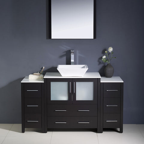 "Image of Fresca Torino 54"" Espresso Modern Bathroom Vanity w/ 2 Side Cabinets & Vessel Sink"