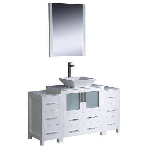 "Image of Fresca Torino 54"" White Modern Bathroom Vanity w/ 2 Side Cabinets & Vessel Sink"