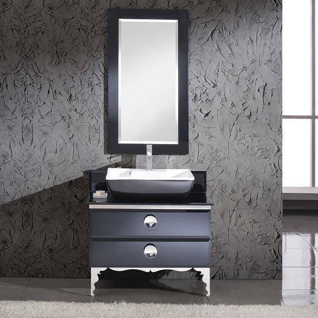 "Fresca Moselle 35.63"" Modern Glass Bathroom Vanity w/ Mirror"