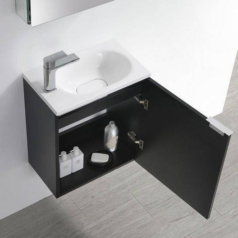 "Image of Fresca Valencia 20"" Black Wall Hung Modern Bathroom Vanity with Medicine Cabinet"
