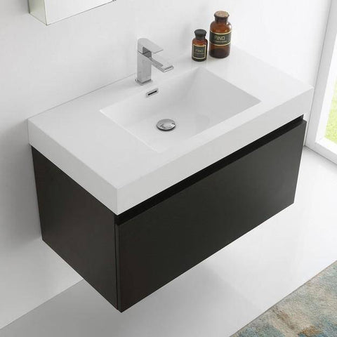Image of Fresca Mezzo 35.4 Inch Black Wall Hung Modern Bathroom Vanity with Medicine Cabinet