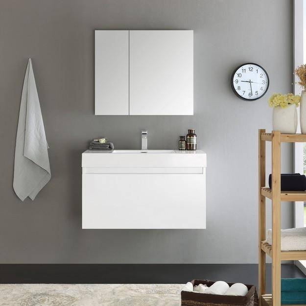 Fresca Mezzo 35.4 Inch White Wall Hung Modern Bathroom Vanity with Medicine Cabinet
