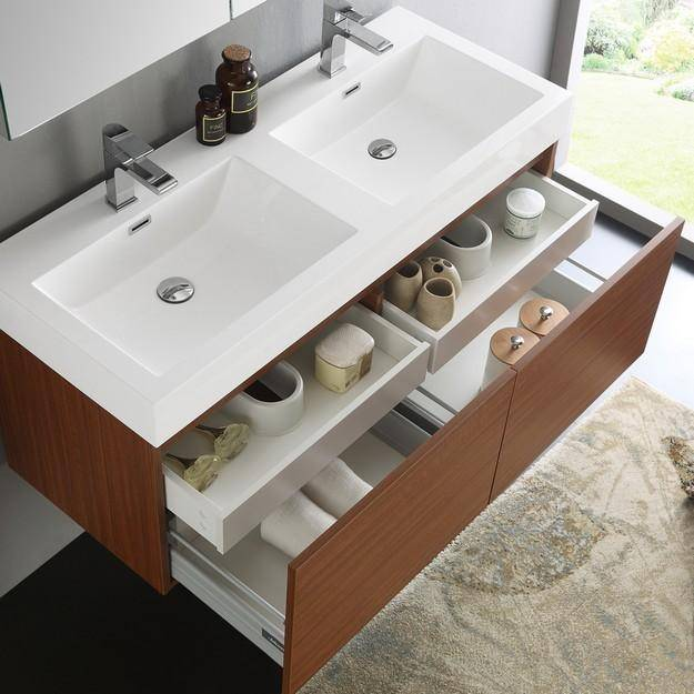 Fresca Mezzo 47.3 Inch Teak Wall Hung Double Sink Modern Bathroom Vanity with Medicine Cabinet