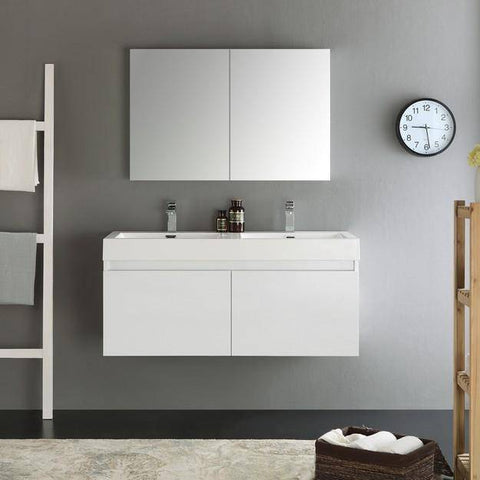 Image of Fresca Mezzo 47.3 Inch White Wall Hung Double Sink Modern Bathroom Vanity with Medicine Cabinet
