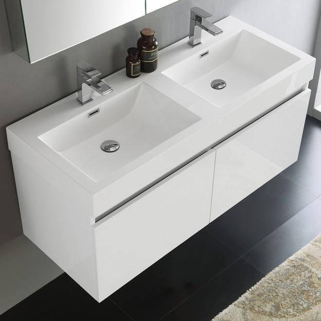 Fresca Mezzo 47.3 Inch White Wall Hung Double Sink Modern Bathroom Vanity with Medicine Cabinet