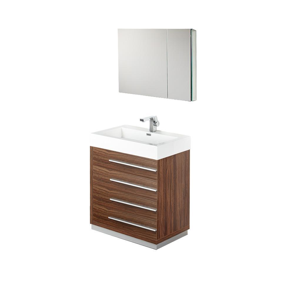 "Fresca Livello 30"" Walnut Modern Bathroom Vanity with Medicine Cabinet"