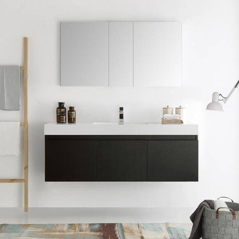 Image of Fresca Mezzo 59 Inch Black Wall Hung Single Sink Modern Bathroom Vanity with Medicine Cabinet