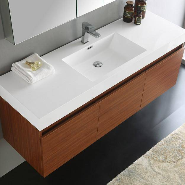 Fresca Mezzo 59 Inch Teak Wall Hung Single Sink Modern Bathroom Vanity with Medicine Cabinet