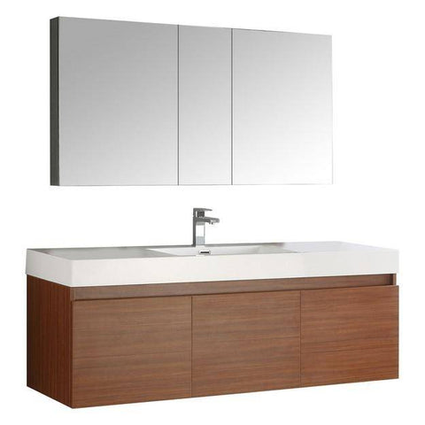 Image of Fresca Mezzo 59 Inch Teak Wall Hung Single Sink Modern Bathroom Vanity with Medicine Cabinet