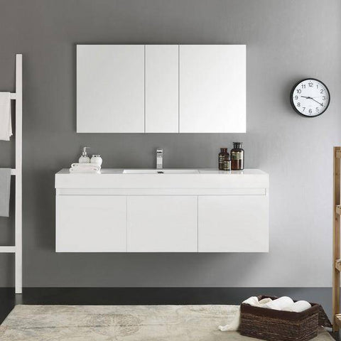 Image of Fresca Mezzo 59 Inch White Wall Hung Single Sink Modern Bathroom Vanity with Medicine Cabinet