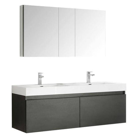Image of Fresca Mezzo 59 Inch Black Wall Hung Double Sink Modern Bathroom Vanity with Medicine Cabinet