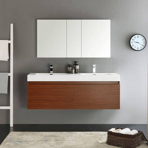 Image of Fresca Mezzo 59 Inch Teak Wall Hung Double Sink Modern Bathroom Vanity with Medicine Cabinet