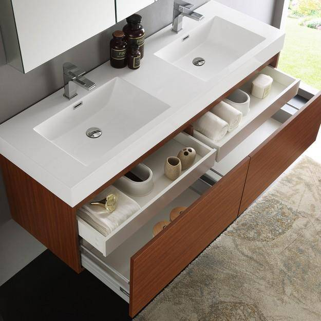 Fresca Mezzo 59 Inch Teak Wall Hung Double Sink Modern Bathroom Vanity with Medicine Cabinet