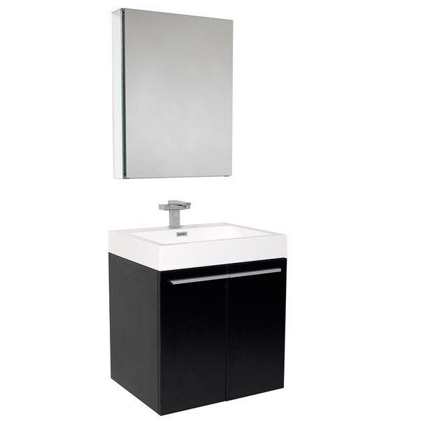 Fresca Alto 22.5 Inch Black Modern Bathroom Vanity with Medicine Cabinet
