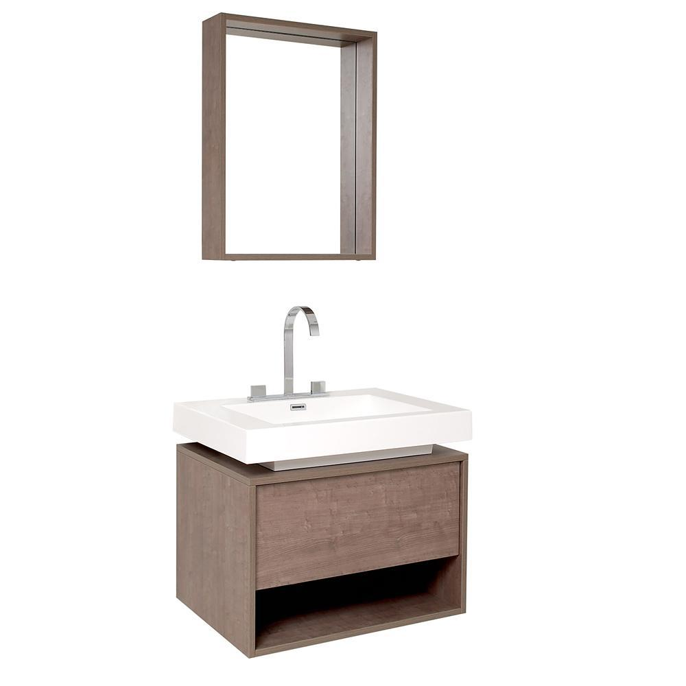 Fresca Potenza 28 Inch Gray Oak Modern Bathroom Vanity w/ Pop Open Drawer