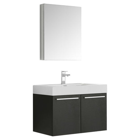 Fresca Vista 29.5 Inch Black Wall Hung Modern Bathroom Vanity with Medicine Cabinet
