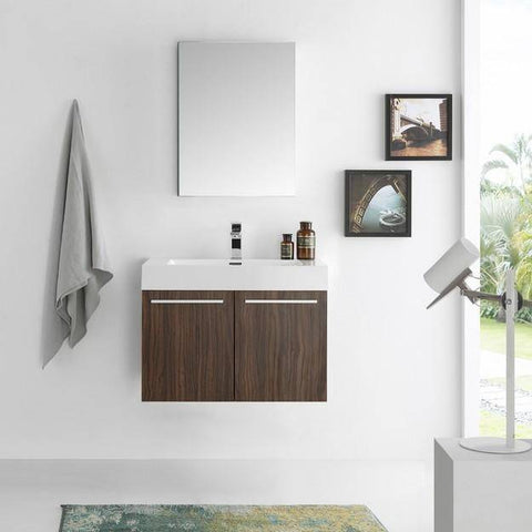 Fresca Vista 29.5 Inch Walnut Wall Hung Modern Bathroom Vanity with Medicine Cabinet