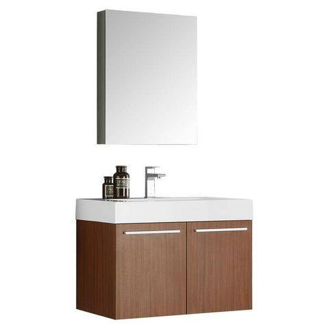 Fresca Vista 29.5 Inch Teak Wall Hung Modern Bathroom Vanity with Medicine Cabinet