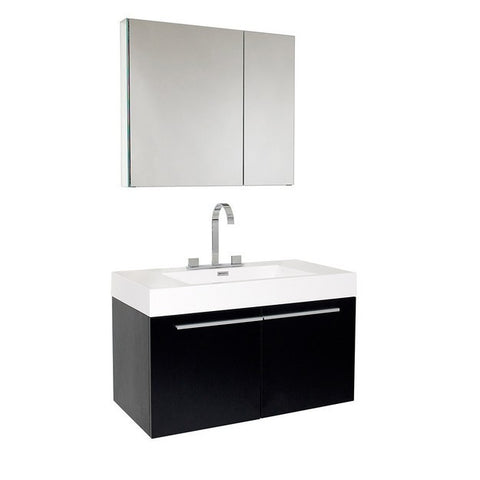 Fresca Vista 35.38 Inch Black Modern Bathroom Vanity with Medicine Cabinet