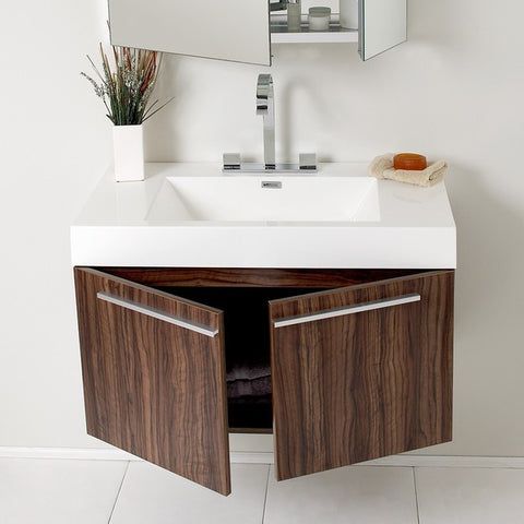 Image of Fresca Vista 35.38 Inch Walnut Modern Bathroom Vanity with Medicine Cabinet
