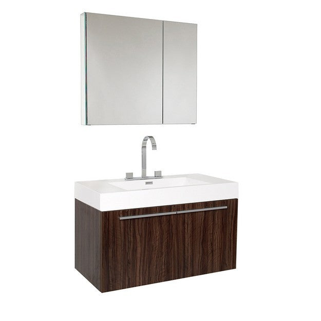 Fresca Vista 35.38 Inch Walnut Modern Bathroom Vanity with Medicine Cabinet