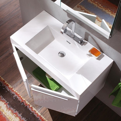 Image of Fresca Vista 35.38 Inch White Modern Bathroom Vanity with Medicine Cabinet