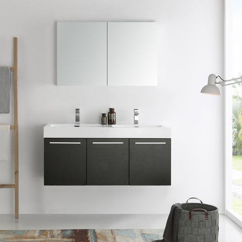 Fresca Vista 47.3 Inch Black Wall Hung Double Sink Modern Bathroom Vanity with Medicine Cabinet
