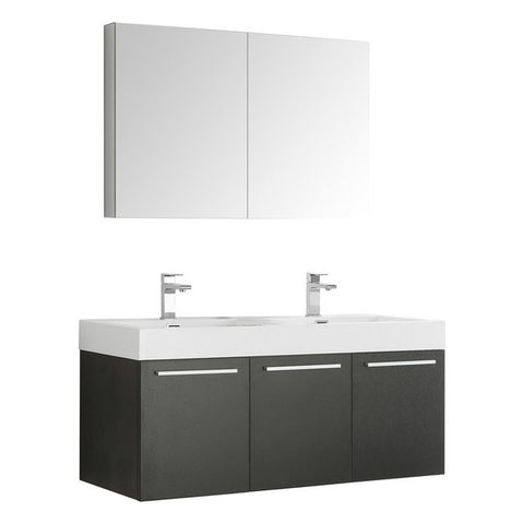 Image of Fresca Vista 47.3 Inch Black Wall Hung Double Sink Modern Bathroom Vanity with Medicine Cabinet