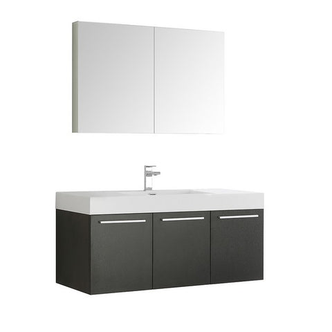 Fresca Vista 47.3 Inch Black Wall Hung Modern Bathroom Vanity with Medicine Cabinet