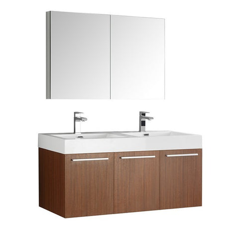 Fresca Vista 47.3 Inch Teak Wall Hung Double Sink Modern Bathroom Vanity with Medicine Cabinet