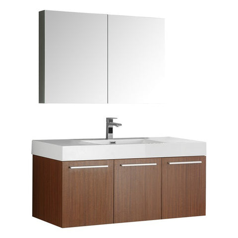 Fresca Vista 47.3 Inch Teak Wall Hung Modern Bathroom Vanity with Medicine Cabinet