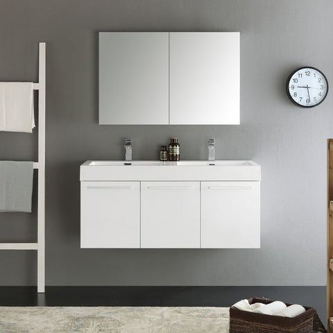 Fresca Vista 47.3 Inch White Wall Hung Double Sink Modern Bathroom Vanity with Medicine Cabinet