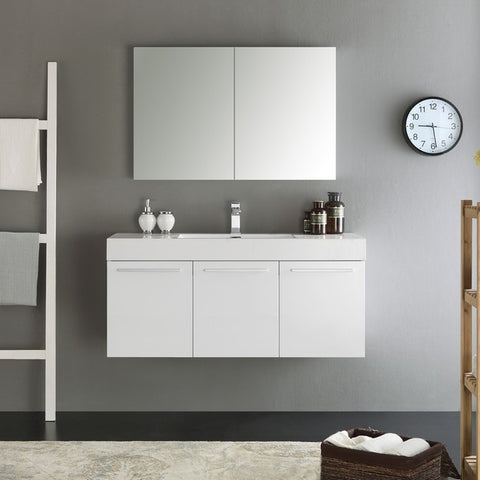 Fresca Vista 47.3 Inch White Wall Hung Modern Bathroom Vanity with Medicine Cabinet