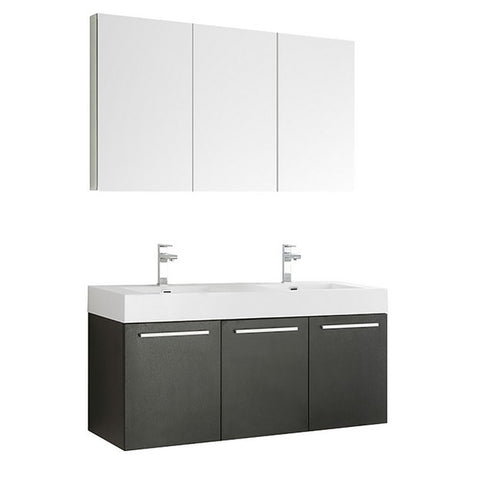 Fresca Vista 59 Inch Black Wall Hung Double Sink Modern Bathroom Vanity with Medicine Cabinet