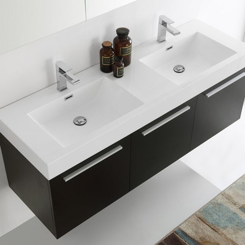 Image of Fresca Vista 59 Inch Black Wall Hung Double Sink Modern Bathroom Vanity with Medicine Cabinet