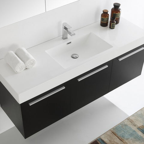 Image of Fresca Vista 59 Inch Black Wall Hung Single Sink Modern Bathroom Vanity with Medicine Cabinet