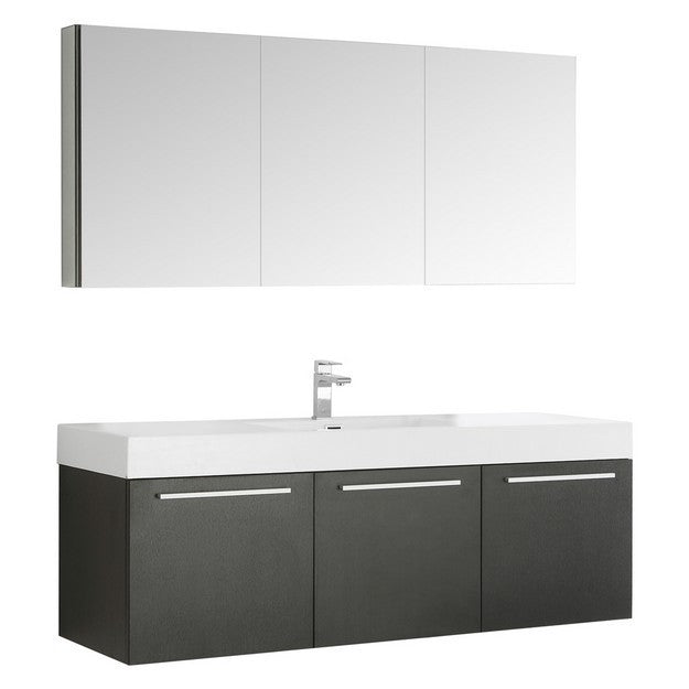 Fresca Vista 59 Inch Black Wall Hung Single Sink Modern Bathroom Vanity with Medicine Cabinet