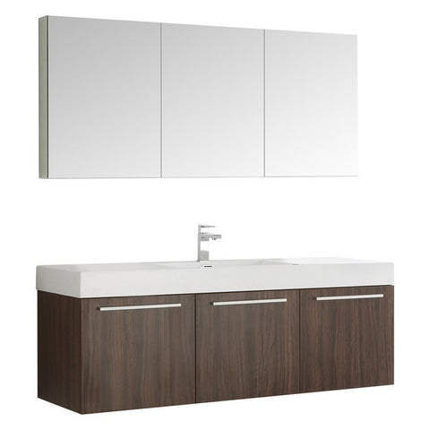 Fresca Vista 59 Inch Walnut Wall Hung Single Sink Modern Bathroom Vanity with Medicine Cabinet