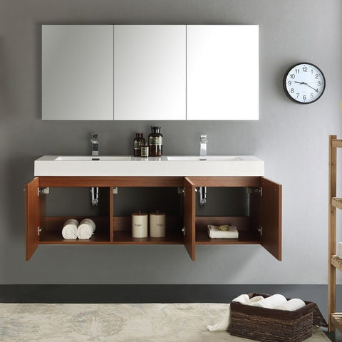 Image of Fresca Vista 59 Inch Teak Wall Hung Double Sink Modern Bathroom Vanity with Medicine Cabinet