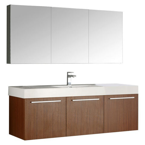 Fresca Vista 59 Inch Teak Wall Hung Single Sink Modern Bathroom Vanity with Medicine Cabinet