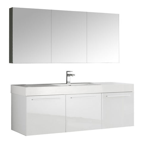 Fresca Vista 59 Inch White Wall Hung Single Sink Modern Bathroom Vanity with Medicine Cabinet