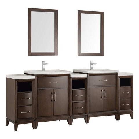 "Image of Fresca Cambridge 84"" Antique Coffee Double Sink Traditional Bathroom Vanity with Mirrors"